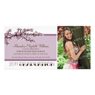 Cherry Blossom Graduation Announcement (purple) Photo Card