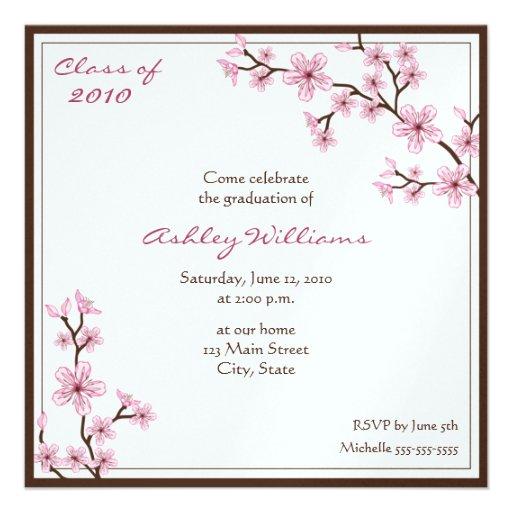 Cherry Blossom Graduation Invitations