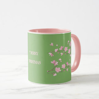 Cherry Blossom - Green - Merry Christmas Mug