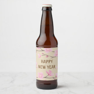 Cherry Blossom - Happy New Year Beer Bottle Label