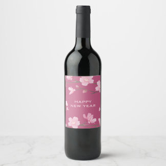 Cherry Blossom - Happy New Year Wine Label