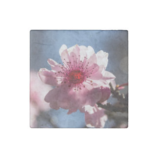 Cherry Blossom in the Sunshine Marble Magnet Stone Magnet