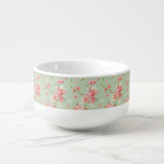Cherry blossom,mint,jade,trendy,beautiful,pattern, soup bowl with handle