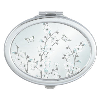 Cherry Blossom  Mint White Travel Mirror
