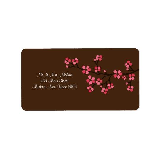 Cherry Blossom Mocha Wedding Bridal Return Label Address Label