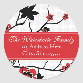 Cherry Blossom Modern Address Labels Round Sticker