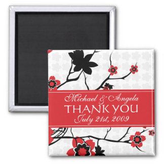 Cherry Blossom Modern Thank You Square Magnet