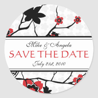 Cherry Blossom Modern Wedding Save the Date Round Sticker