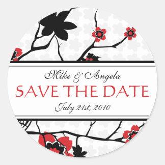 Cherry Blossom Modern Wedding Save the Date Round Sticker