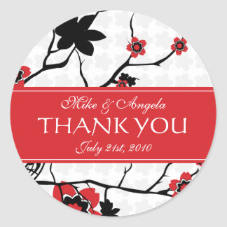 Cherry Blossom Modern Wedding Thank You Round Sticker