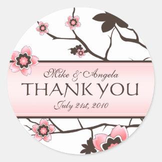 Cherry Blossom Modern Wedding Thank You Round Sticker