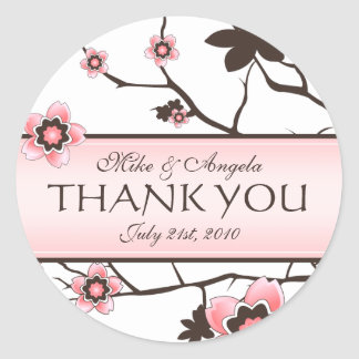 Cherry Blossom Modern Wedding Thank You Stickers