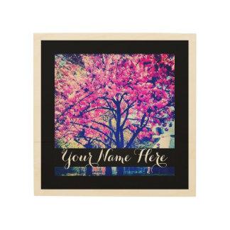 """Cherry Blossom"" & Monogram Wood Print"