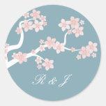Cherry blossom on blue circle sticker