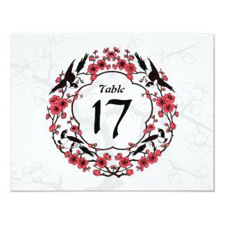 Cherry Blossom Oriental Table Number Card 11 Cm X 14 Cm Invitation Card