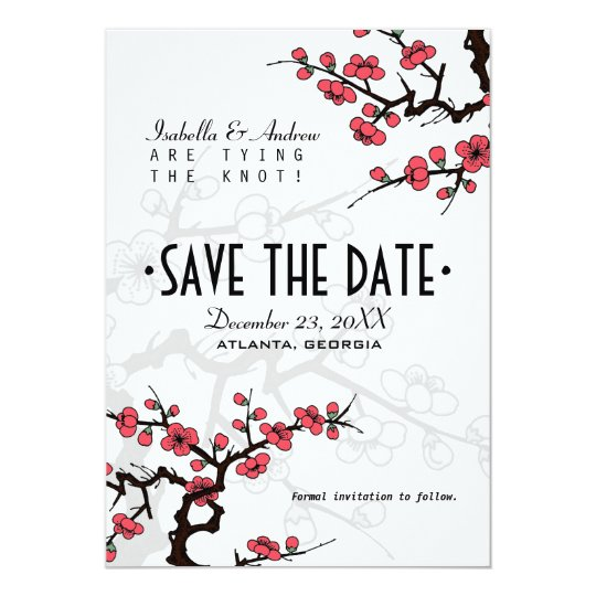 Cherry Blossom Oriental Wedding Save the Date Card