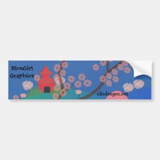 Cherry Blossom Pagoda Bumper Sticker