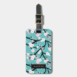 Cherry Blossom Pattern Custom Name Address Luggage Tag
