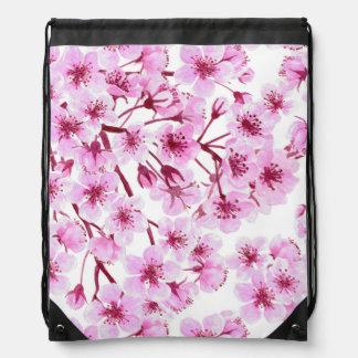 Cherry blossom pattern drawstring bag
