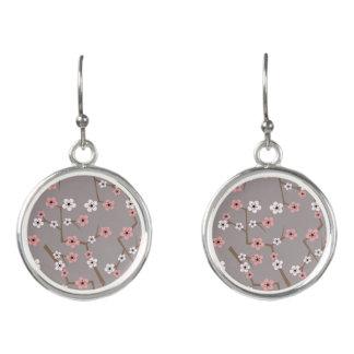 Cherry Blossom Pattern Gray Earrings