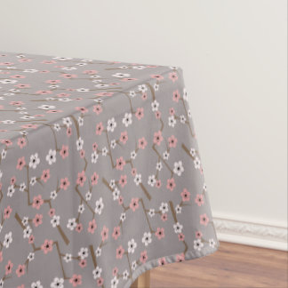 Cherry Blossom Pattern Gray Tablecloth