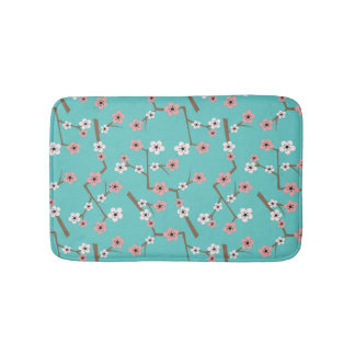 Cherry Blossom Pattern Turquoise Bath Mat