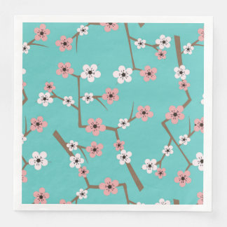 Cherry Blossom Pattern Turquoise Disposable Serviettes