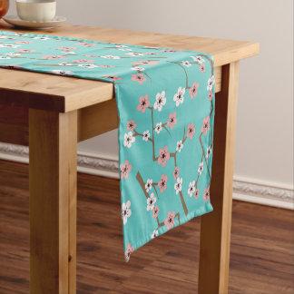 Cherry Blossom Pattern Turquoise Short Table Runner