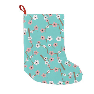 Cherry Blossom Pattern Turquoise Small Christmas Stocking