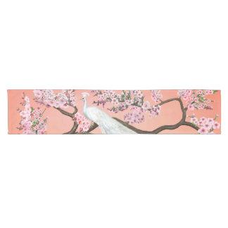Cherry Blossom Peacock Short Table Runner