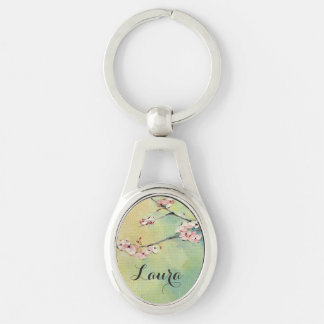 Cherry Blossom Personalized Silver Keychain