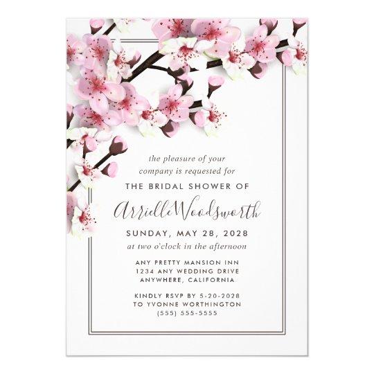 b2433acaca5e Cherry Blossom Pink Bridal Shower Invitations