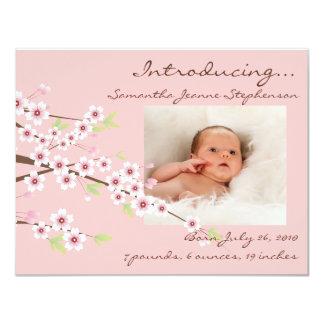 Cherry Blossom Pink & Brown Baby Girl Photo Birth 11 Cm X 14 Cm Invitation Card