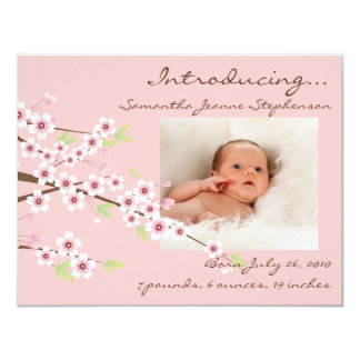 Cherry Blossom Pink & Brown Baby Girl Photo Birth Card