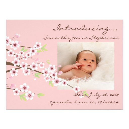 Cherry Blossom Pink & Brown Baby Girl Photo Birth Personalized Invites