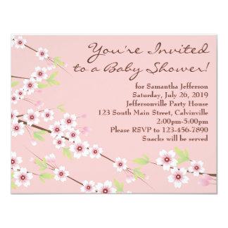 Cherry Blossom Pink & Brown Baby Shower 11 Cm X 14 Cm Invitation Card