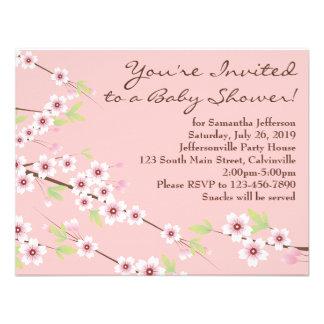 Cherry Blossom Pink & Brown Baby Shower Custom Invitations