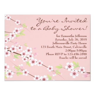 Cherry Blossom Pink & Brown Baby Shower 4.25x5.5 Paper Invitation Card