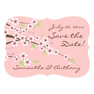 Cherry Blossom Pink/Brown Save the Date 5x7 Paper Invitation Card