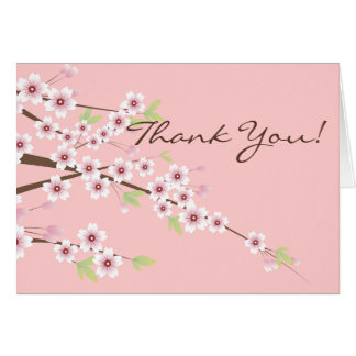 Cherry Blossom Pink & Brown Thank You Cards