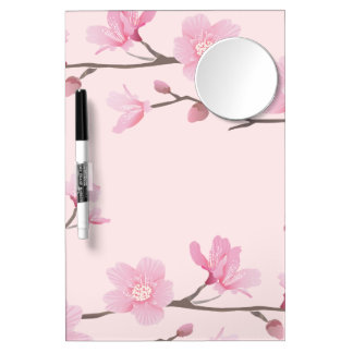 Cherry Blossom - Pink Dry Erase Board With Mirror