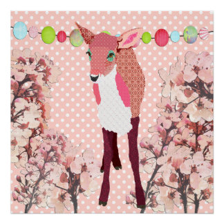 Cherry Blossom Pink Fawn Pok-a-dot Poster