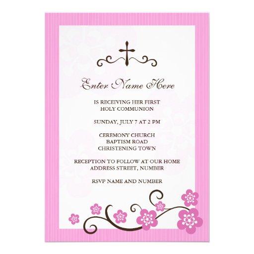 Cherry blossom pink first communion invitation