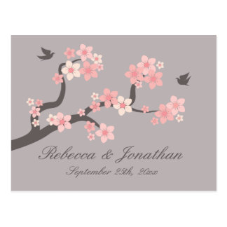 Cherry Blossom pink grey RSVP postcard