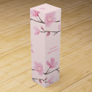 Cherry Blossom - Pink - Happy Birthday Wine Gift Box