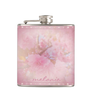 Cherry Blossom Pink Hip Flask