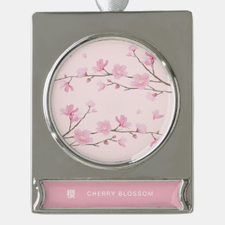 Cherry Blossom - Pink Silver Plated Banner Ornament