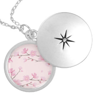 Cherry Blossom - Pink Silver Plated Necklace
