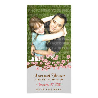 Cherry Blossom Pink Silver Save the Date Photo Custom Photo Card