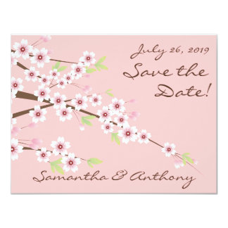 Cherry Blossom Pink Wedding Save the Date 4.25x5.5 Paper Invitation Card